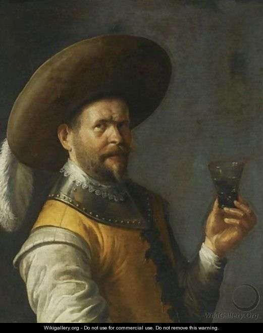 A Self Portrait Of The Artist, Half Length, Dressed As A Cavalier, Wearing A Feathered Head, Holding A Glass In His Left Hand - Joost Cornelisz. Droochsloot