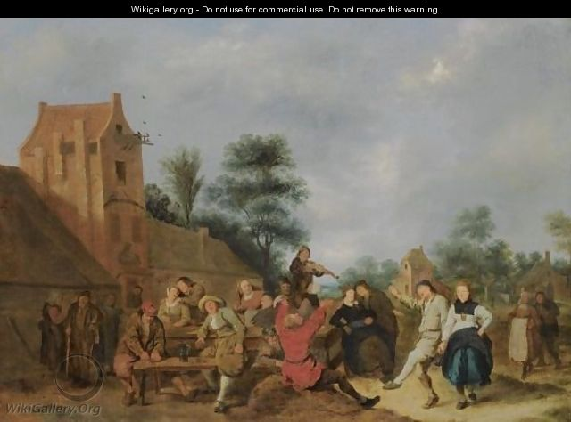 A Merry Company Outside An Inn - Jan Miense Molenaer