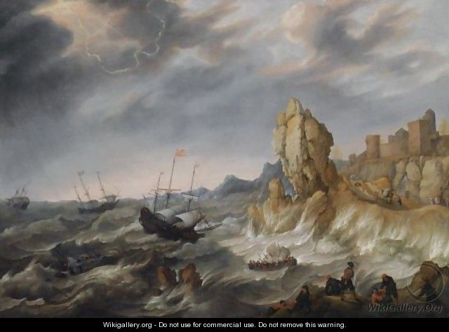 Shipping In A Heavy Storm Along A Rocky Coast - Abraham Willaerts