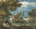 A River Landscape With A Horse And Cart, Huntsmen In A Rowing Boat Beyond - (after) Adriaen Van Stalbemt
