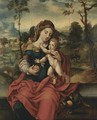 The Virgin And Child In A Landscape - Italian Unknown Master