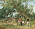 An Encampment In A Clearing - Georges Washington