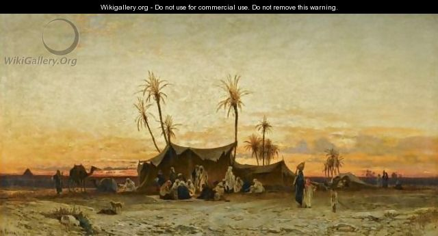 An Arab Encampment At Sunset - Hermann David Solomon Corrodi