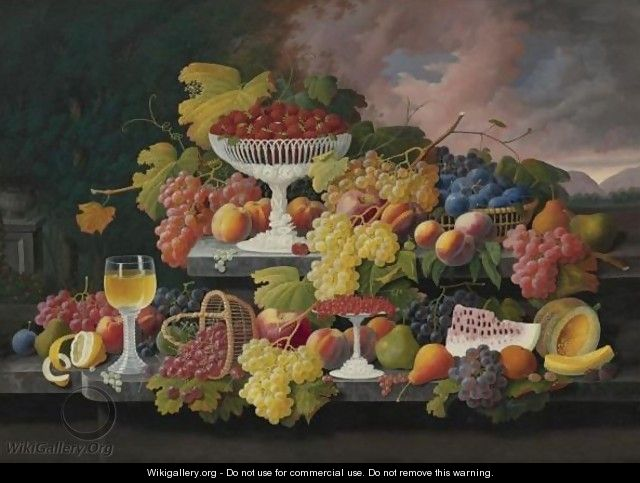 Still Life With Fruit In A Landscape - Severin Roesen