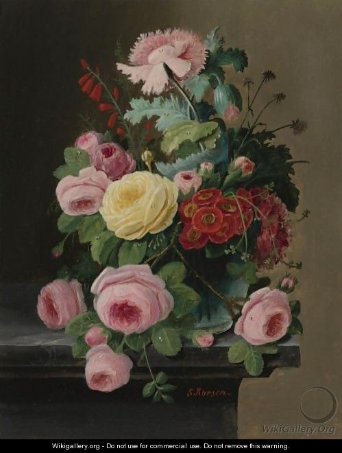 Still Life Of Flowers, Mainly Roses - Severin Roesen