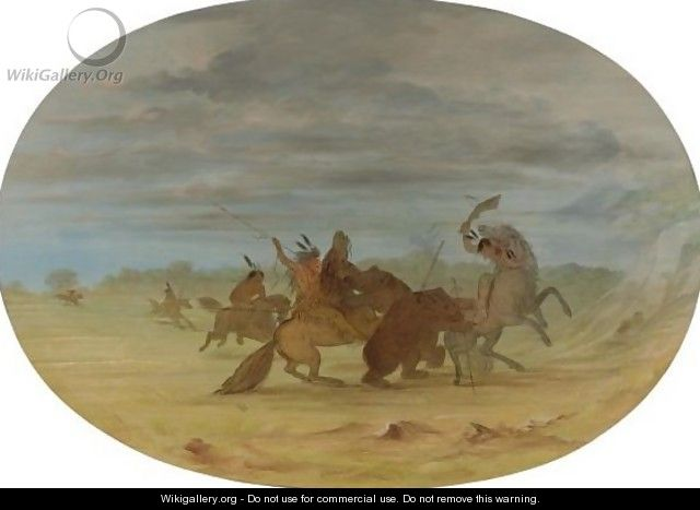 Indians Hunting The Grizzly Bear - George Catlin