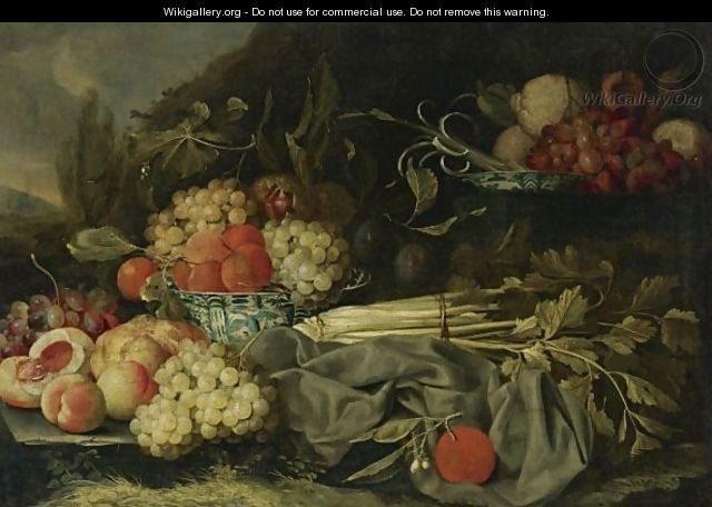 Still Life With Peaches, Grapes And Chinese Porcelain Bowl - (after) Cornelis De Heem