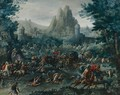 Cavalry Skirmish With A Mountainous Landscape Beyond - Frans I Francken