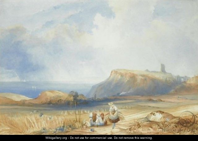 Distant View Of Scarborough Castle, Yorkshire - Charles Bentley