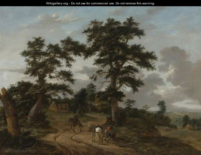 Extensive Landscape With Figures And Horses Along A Path - Haarlem School
