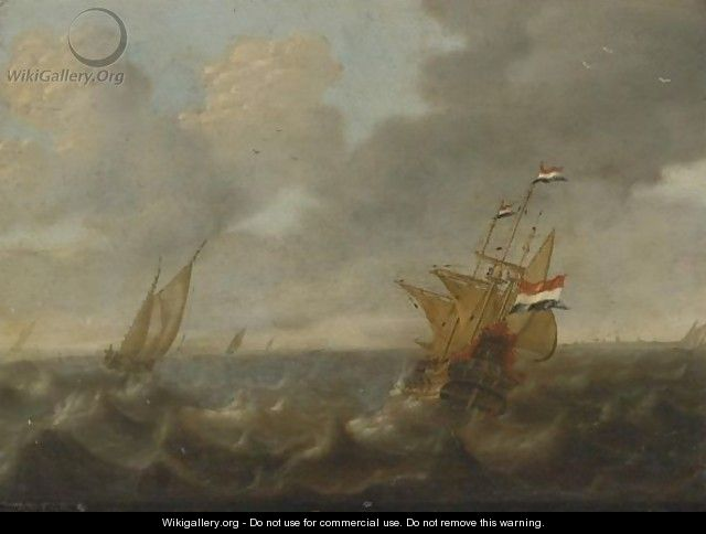 Dutch Ships On A Rough Sea - Jan Abrahamsz. Beerstraten