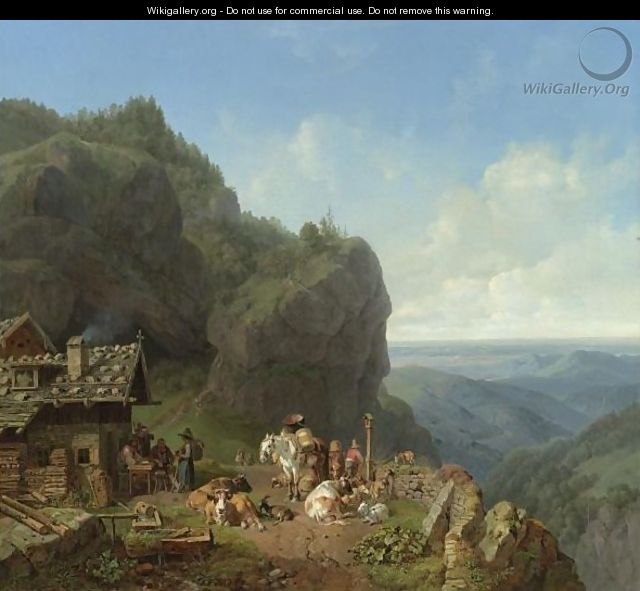Tavern In The Alps - Heinrich Bürkel