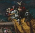 Still Life Of Tulips, Hydrangea And Other Flowers In A Gilt Urn And A Monkey - Jean-Baptiste Monnoyer