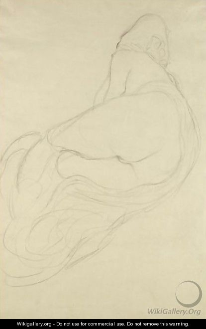 Ruckenhalbakt Nach Links (Semi-Nude, Back View Facing Left) - Gustav Klimt