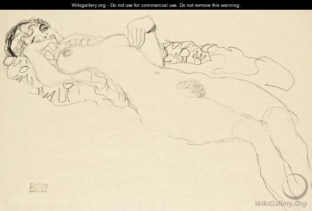 Liegender Madchenakt Nach Links (Reclining Female Nude Facing Left) - Gustav Klimt