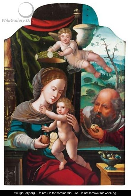 The Holy Family Crowned By An Angel - (after) Pieter Coecke Van Aelst
