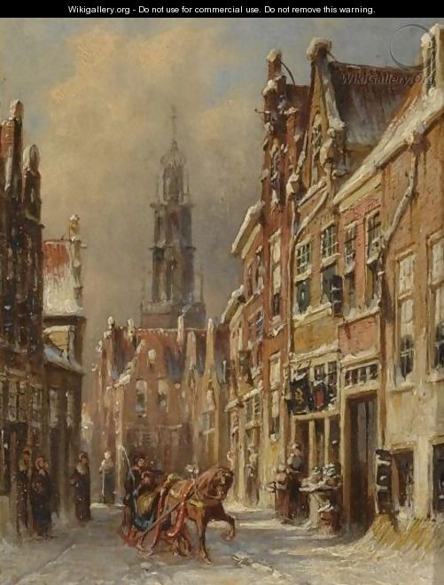 Figures On A Sledge In A Snow-Covered Dutch Town - Pieter Gerard Vertin