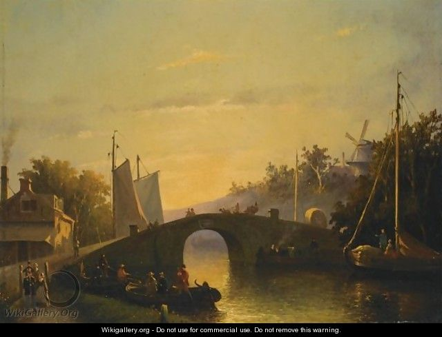 Figures Near A Bridge In A Dutch Town - Joseph Bles