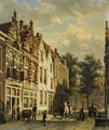 Figures In The Sunlit Streets Of A Dutch Town 2 - Cornelis Springer
