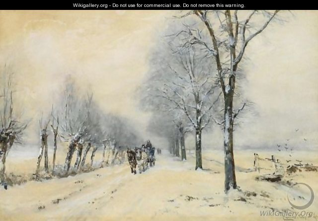 A Horse And Carriage In The Snow - Louis Apol