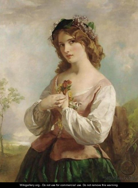 Portrait Of A Young Girl Holding Flowers - English School