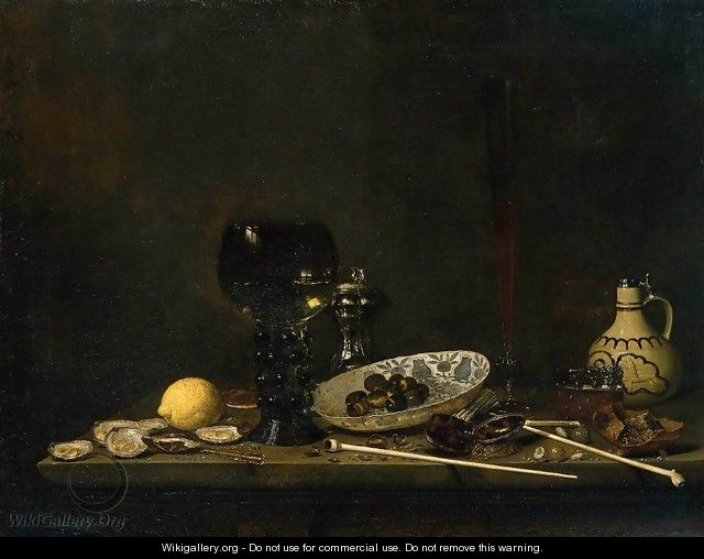 Still-Life with Romer, Flute Glass, Earthenware Jug and Pipes 1651 - Jan Jansz. Van De Velde