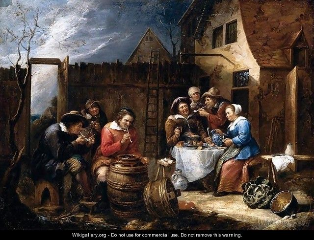 Boors Eating Drinking and Smoking outside a Cottage 1657 - Gillis Van Tilborgh