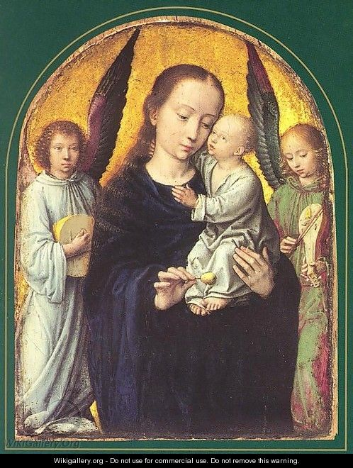 Mary and Child with two Angels Making Music - Gerard David