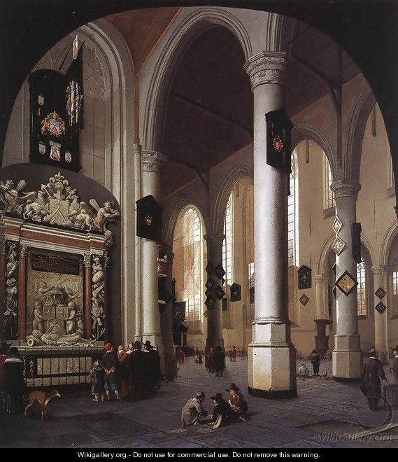 The Old Church at Delft with the Tomb of Admiral Tromp 1658 - Hendrick Van Vliet