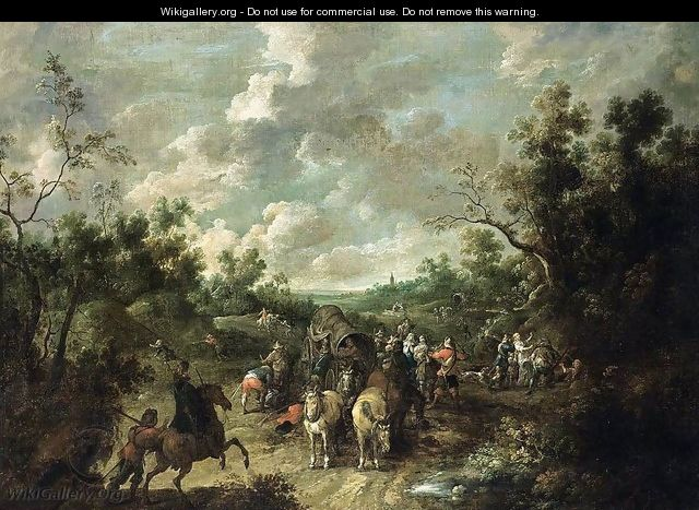 A Wooded Landscape with Travellers - Pieter Snayers
