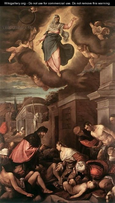 St Roche Among The Plague Victims And The Madonna In Glory 1575 - Jacopo Bassano (Jacopo da Ponte)