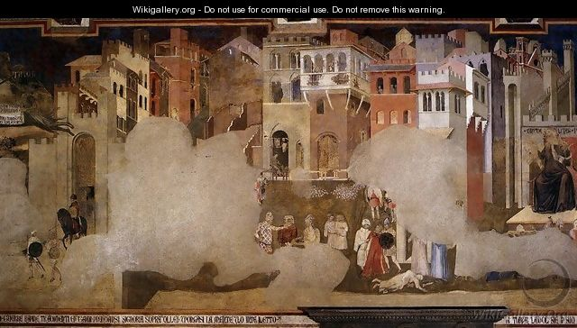 Effects Of Bad Government On The City Life (detail) - Ambrogio Lorenzetti