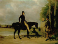 Richard Crawshay, on a black pony, talking to a gamekeeper and another man, with dogs, in the grounds of Ottershaw Park, Chertsey 1838 - William Barraud