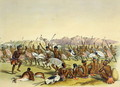 Zulu Hunting Dance near the Engooi Mountains, plate 14 from 'The Kafirs Illustrated', 1849 - George French Angas