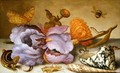 Still life depicting flowers, shells and insects - Balthasar Van Der Ast