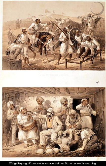 Two scenes of the Indian Mutiny in 1857 depicting mutinous sepoys and an English agent extracting treasure after the occupation of Delhi - George Franklin Atkinson
