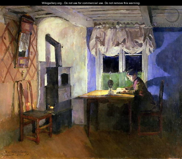 By Lamplight 1890 - Harriet Backer