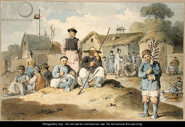 A group of Chinese on the bank of a river, watching the Earl Macartney