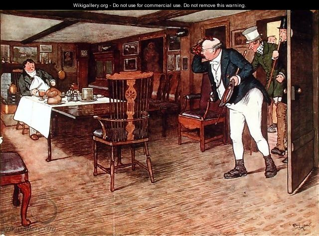 Mr Pickwick finds Mr Tupman having lunch at the Leather Bottle, Cobham (illustration to