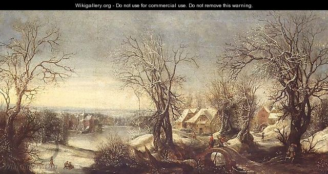 An extensive wooded landscape in winter with skaters on a frozen waterway, a pilgrim and shrine beyond - Denys Van Alsloot