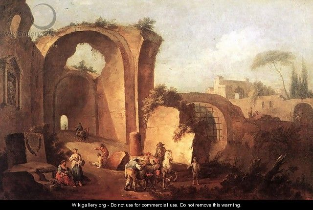 Landscape with Ruins and Archway 1730 - Giuseppe Zais