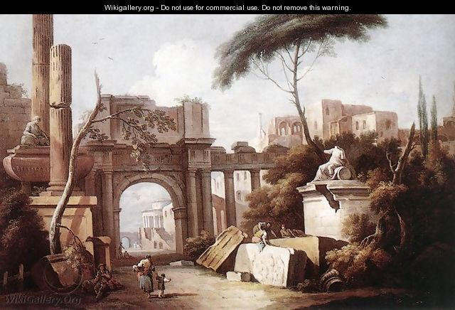 Ancient Ruins with a Great Arch and a Column 1735-40 - Giuseppe Zais