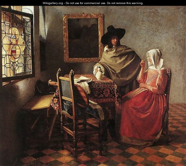 A Lady Drinking and a Gentleman c. 1658 - Jan Vermeer Van Delft