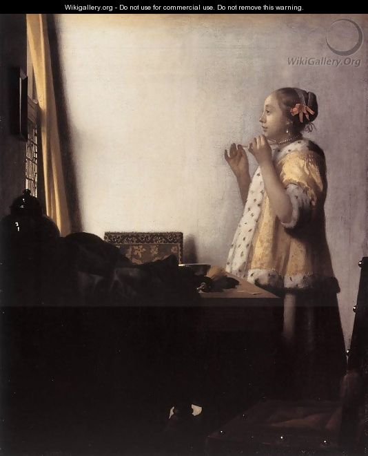 Woman with a Pearl Necklace 1662-64 - Jan Vermeer Van Delft