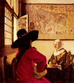 Officer with a Laughing Girl c. 1657 - Jan Vermeer Van Delft