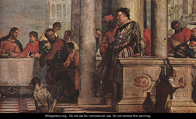 Feast in the House of Levi (detail) 1573 - Paolo Veronese ...