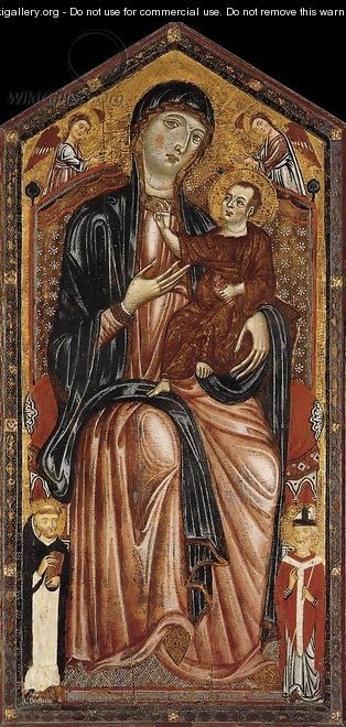 Virgin and Child Enthroned with St Dominic, St Martin and Two Angels c. 1290 - Italian Unknown Masters