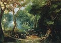 Wooded River Landscape 1618, Oil on canvas, 67 x 95 cm - Frederik van Valkenborch