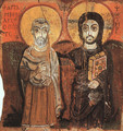 Christ and the Abbot Mena (from the Monastery of Baouit) (6th-7th century A.D.) - Egyptian Unknown Masters