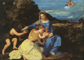 Madonna and Child with the Young St. John the Baptist and St. Catherine 1530 - Tiziano Vecellio (Titian)